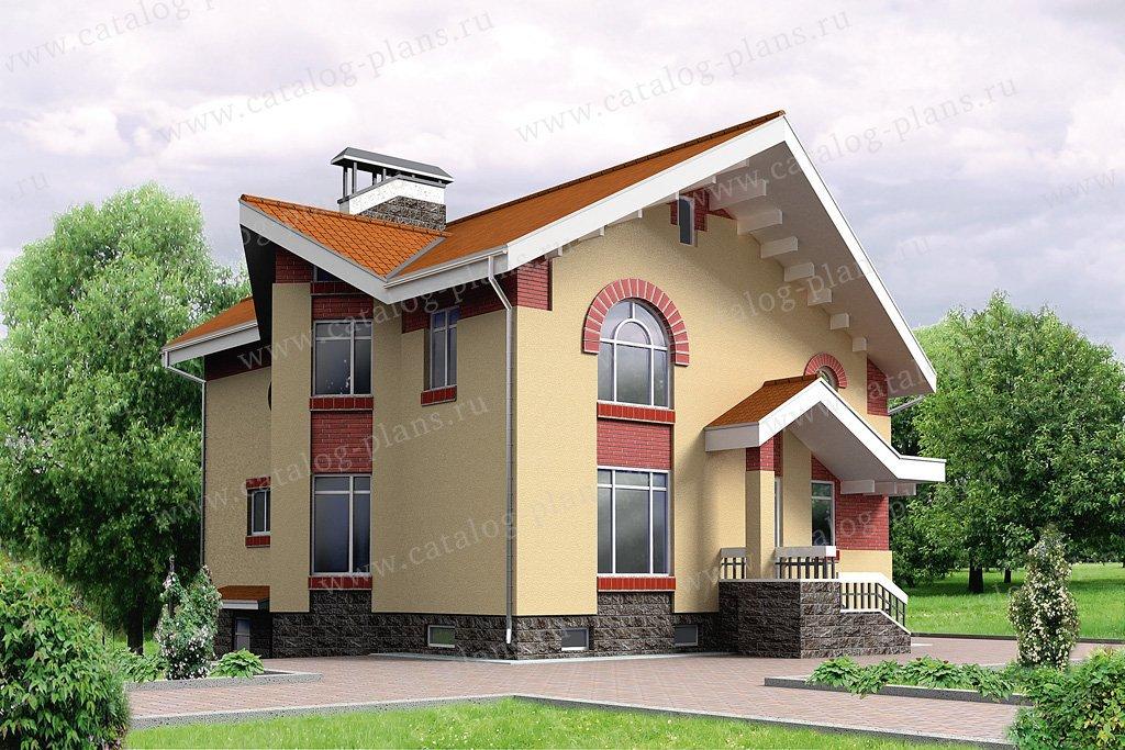 Проект жилой дом #32-57 материал - кирпич, стиль современный