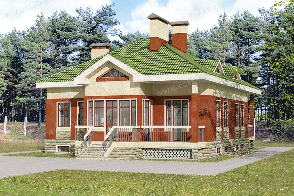 Проект жилой дом #32-55 материал - кирпич, стиль американский