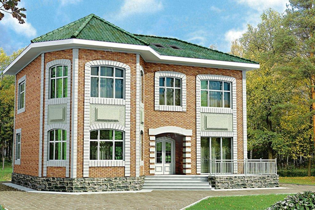 Проект жилой дом #32-97 материал - кирпич, стиль английский
