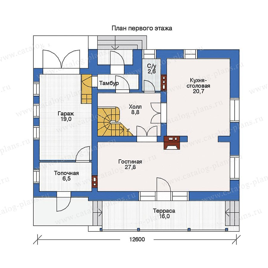 План 1-этажа проекта 32-84