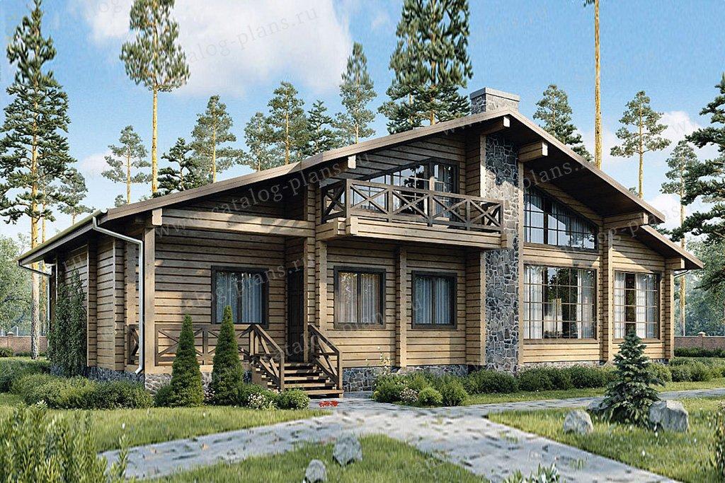 Проект жилой дом #12-51 материал - дерево, стиль шале