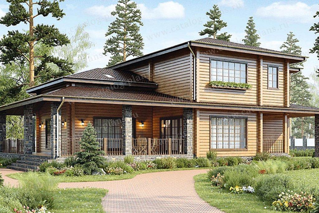 Проект жилой дом #12-50 материал - дерево, стиль европейский