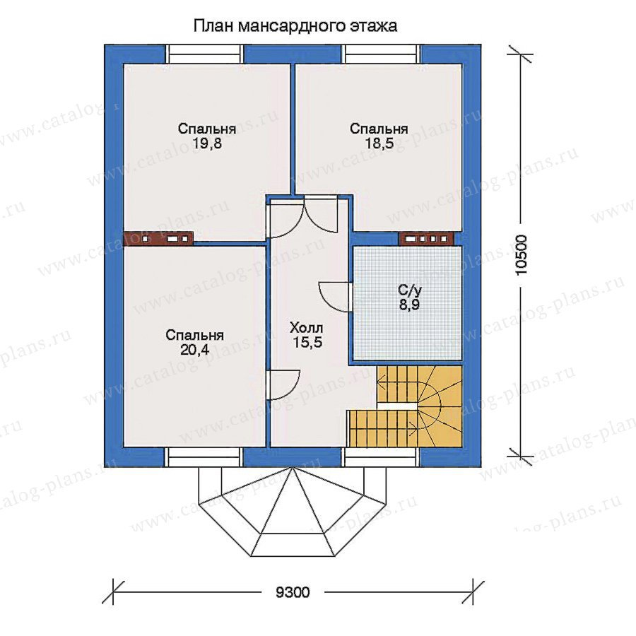 План 2-этажа проекта 32-89