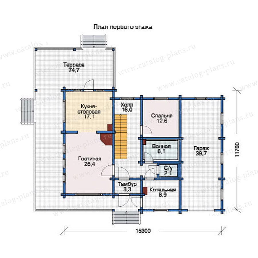 План 1-этажа проекта 12-03