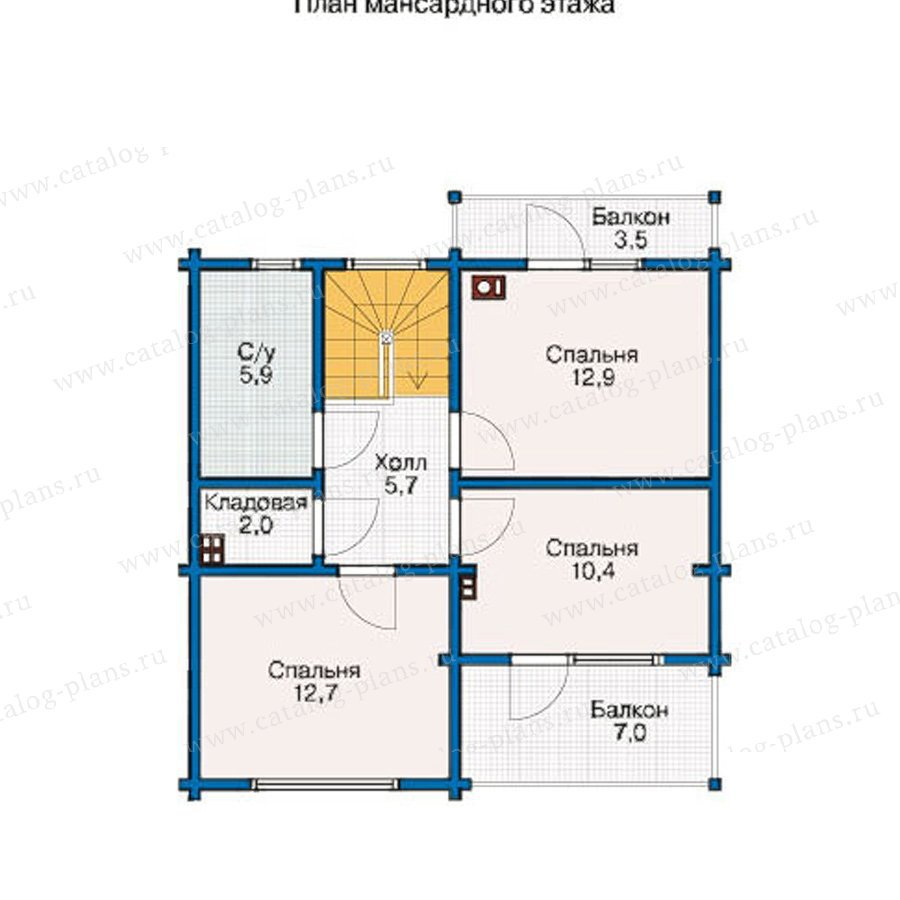 План 2-этажа проекта 12-38