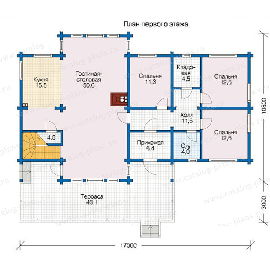 План 1-этажа проекта 12-48