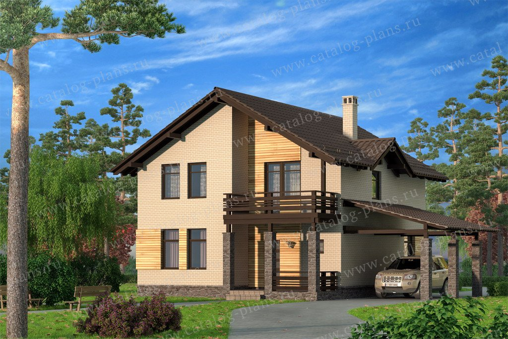 Проект жилой дом #59-35C материал - газобетон, стиль скандинавский