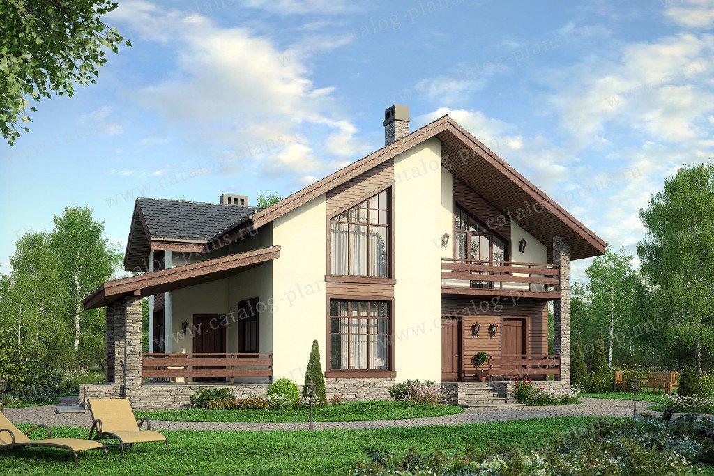 Проект жилой дом #57-63А материал - газобетон, стиль европейский