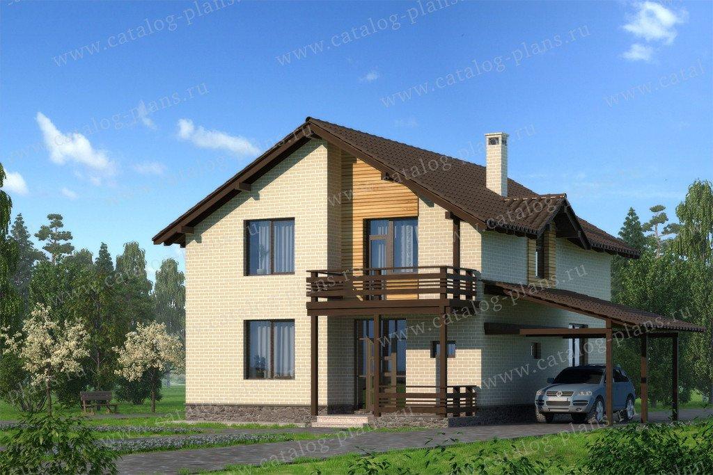 Проект жилой дом #59-35B материал - газобетон, стиль скандинавский