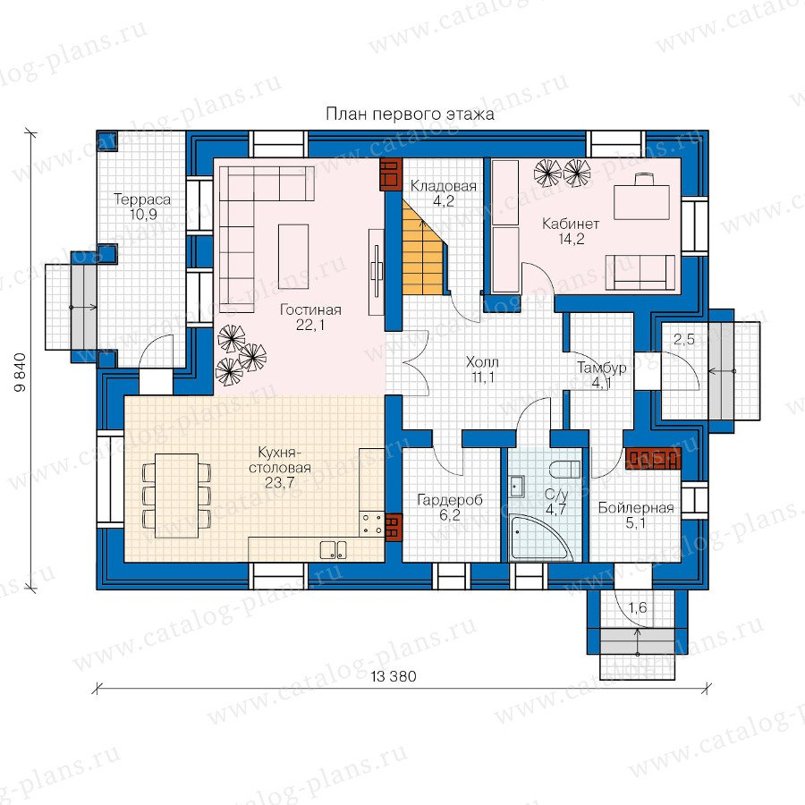 План 1-этажа проекта 57-62