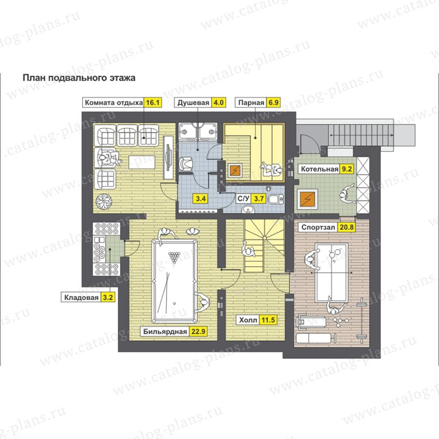 План 1-этажа проекта 59-23AK