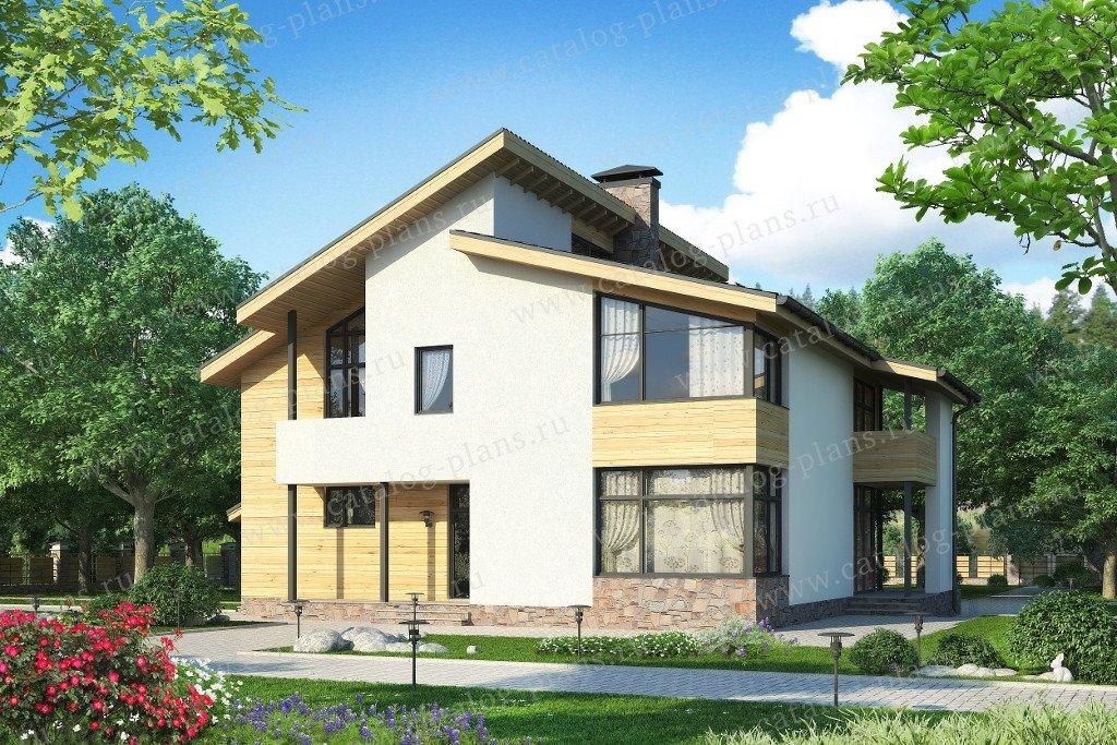 Проект жилой дом #59-26A материал - газобетон, стиль скандинавский