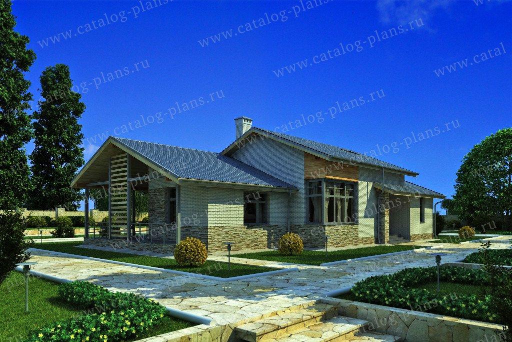 Проект жилой дом #59-22G материал - газобетон, стиль скандинавский
