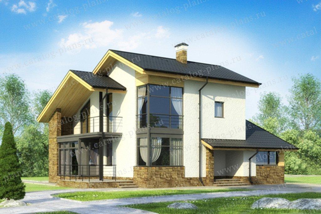 Проект жилой дом #59-23AK материал - кирпич, стиль скандинавский