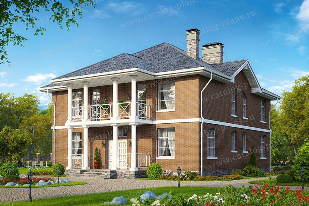 Проект жилой дом #57-15B материал - газобетон, стиль европейский