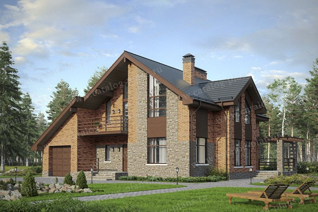 Проект жилой дом #57-00AKL материал - кирпич, стиль