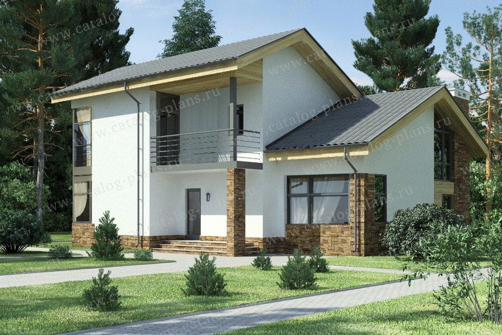 Проект жилой дом #59-24BK материал - кирпич, стиль скандинавский