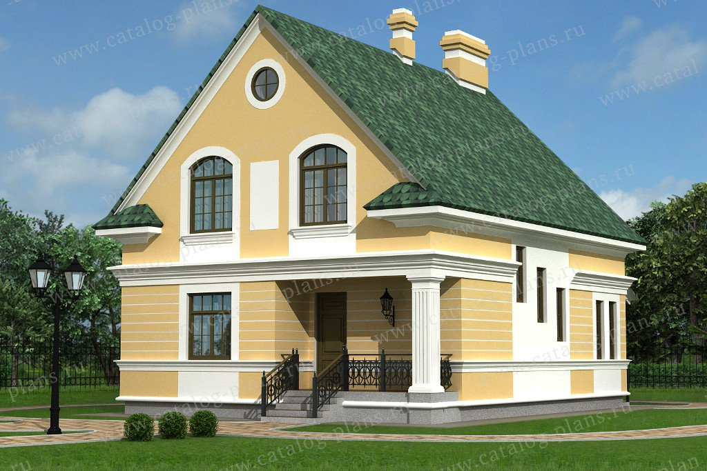 Проект жилой дом #49-99 материал - кирпич, стиль европейский