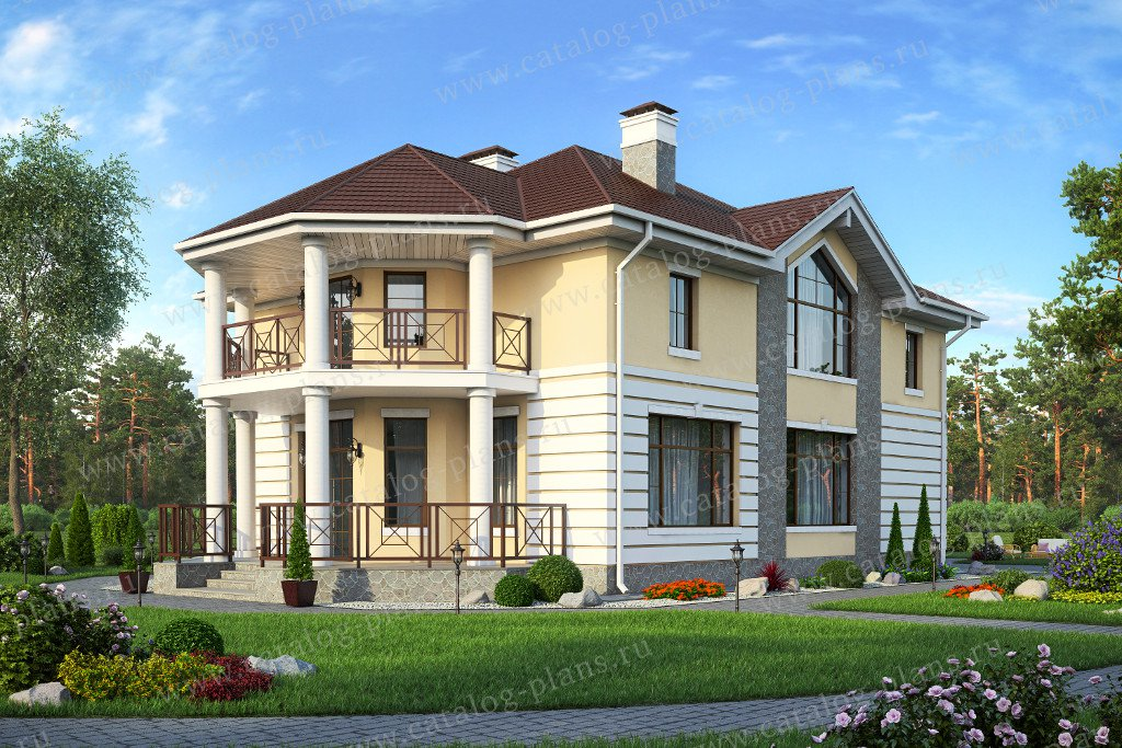 Проект жилой дом #57-15A материал - газобетон, стиль классический