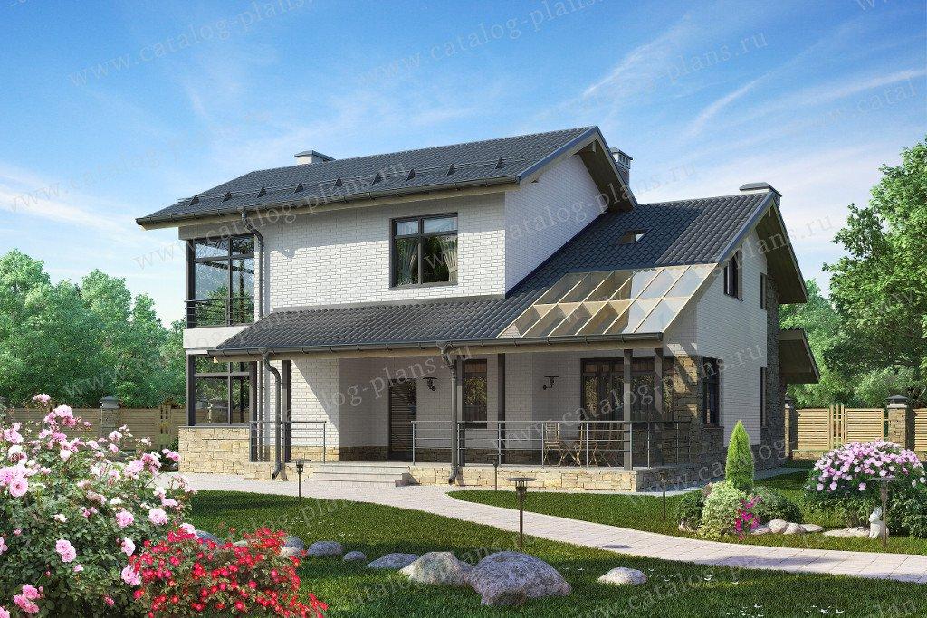 Проект жилой дом #59-24C материал - газобетон, стиль скандинавский