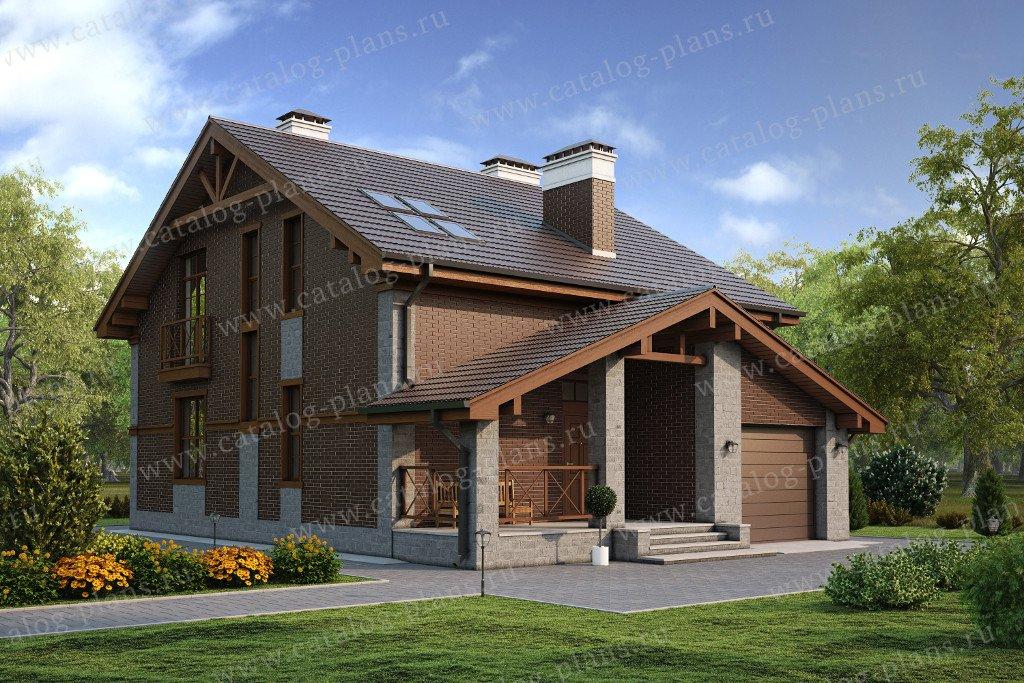 Проект жилой дом #57-09L материал - газобетон, стиль скандинавский