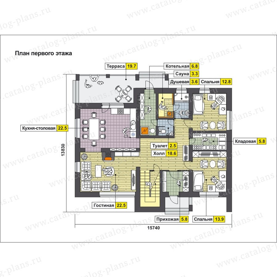 План 1-этажа проекта 59-25C