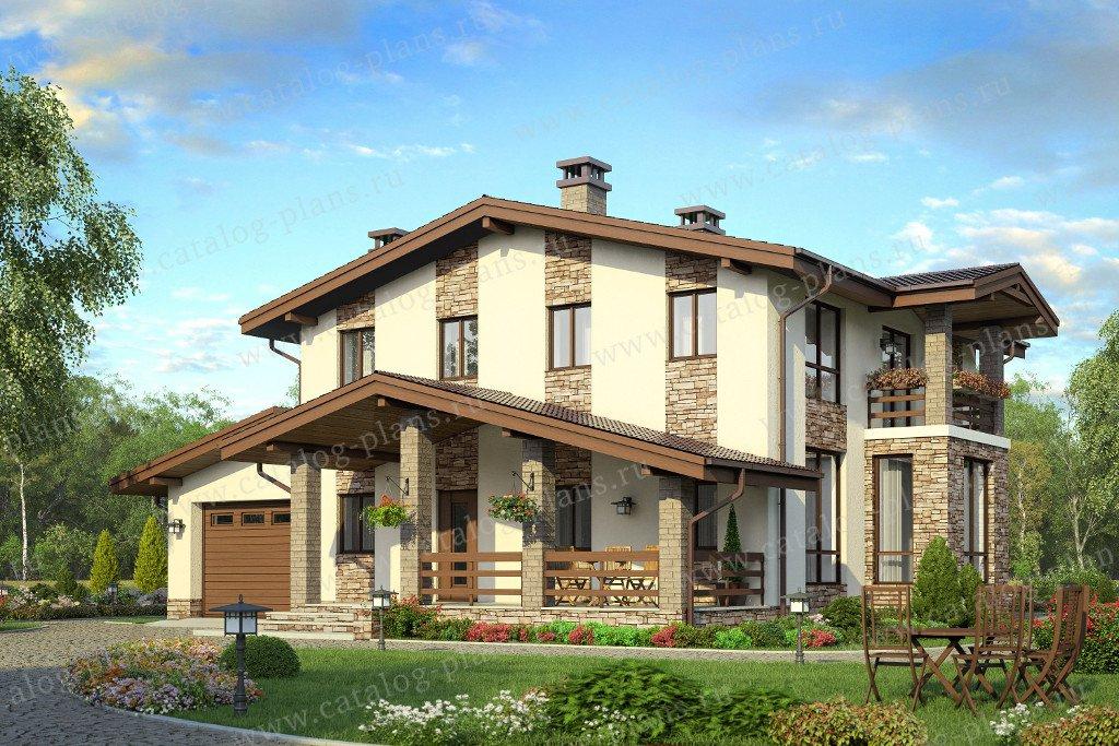 Проект жилой дом #58-18K материал - кирпич, стиль шале