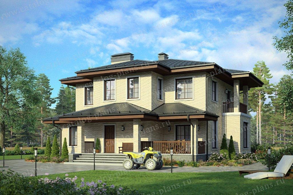 Проект жилой дом #58-12KL материал - кирпич, стиль в стиле Райта