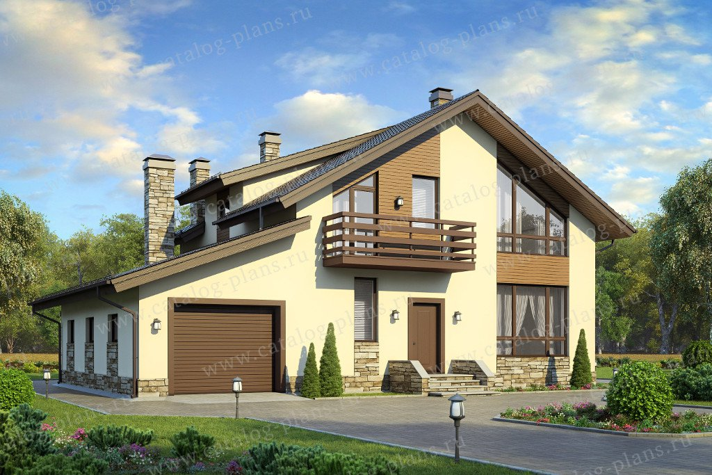 Проект жилой дом #58-21K материал - кирпич, стиль современный