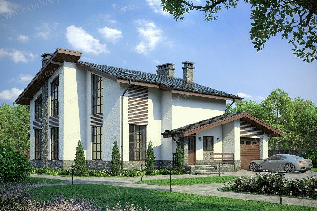 Проект жилой дом #58-11 материал - газобетон, стиль современный