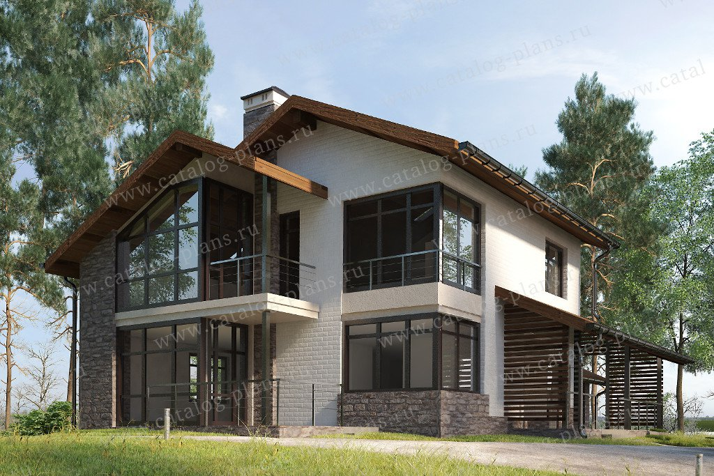 Проект жилой дом #59-24F материал - газобетон, стиль скандинавский