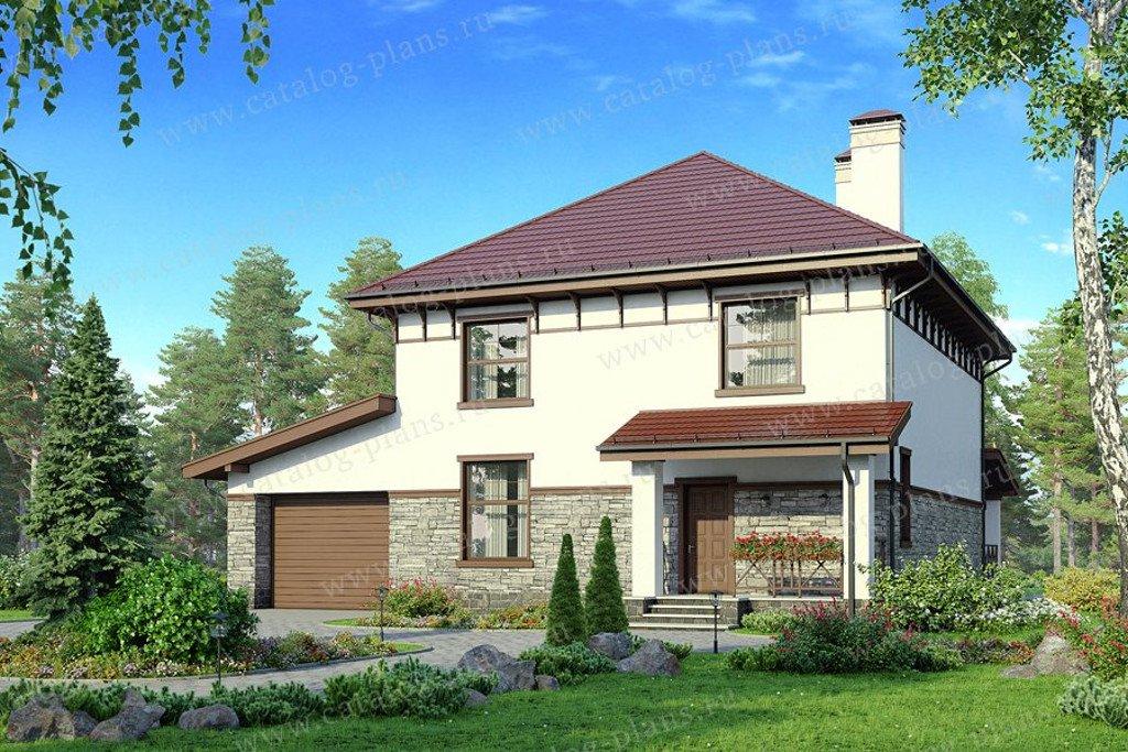 Проект жилой дом #57-47A материал - газобетон, стиль современный
