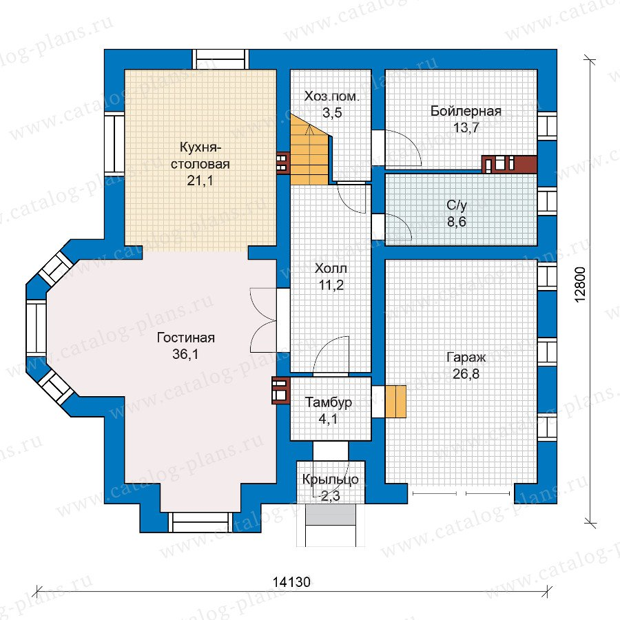 План 1-этажа проекта 57-53