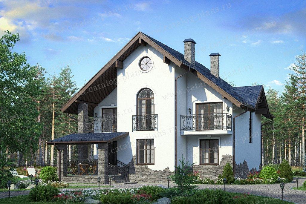 Проект жилой дом #58-34K материал - кирпич, стиль европейский
