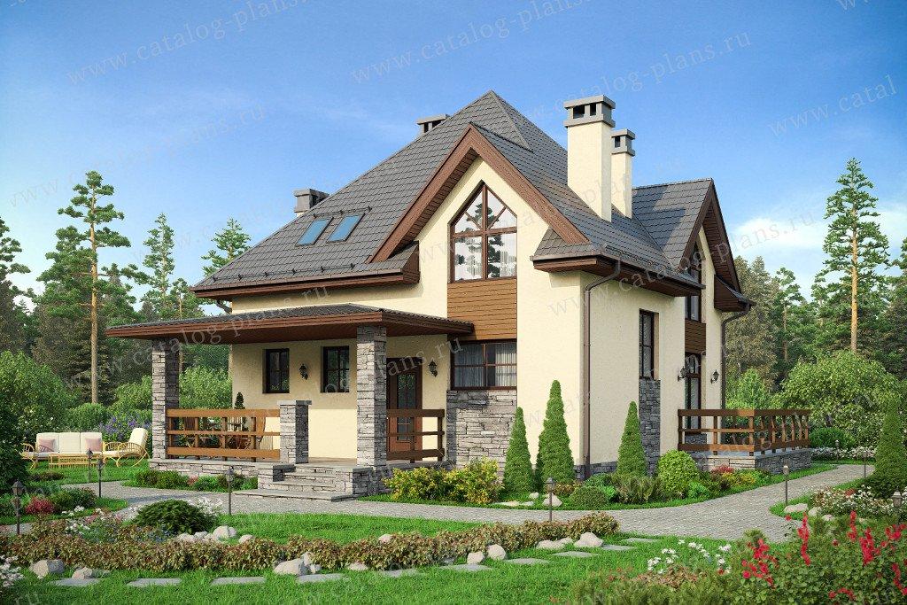 Проект жилой дом #57-51K материал - кирпич, стиль европейский