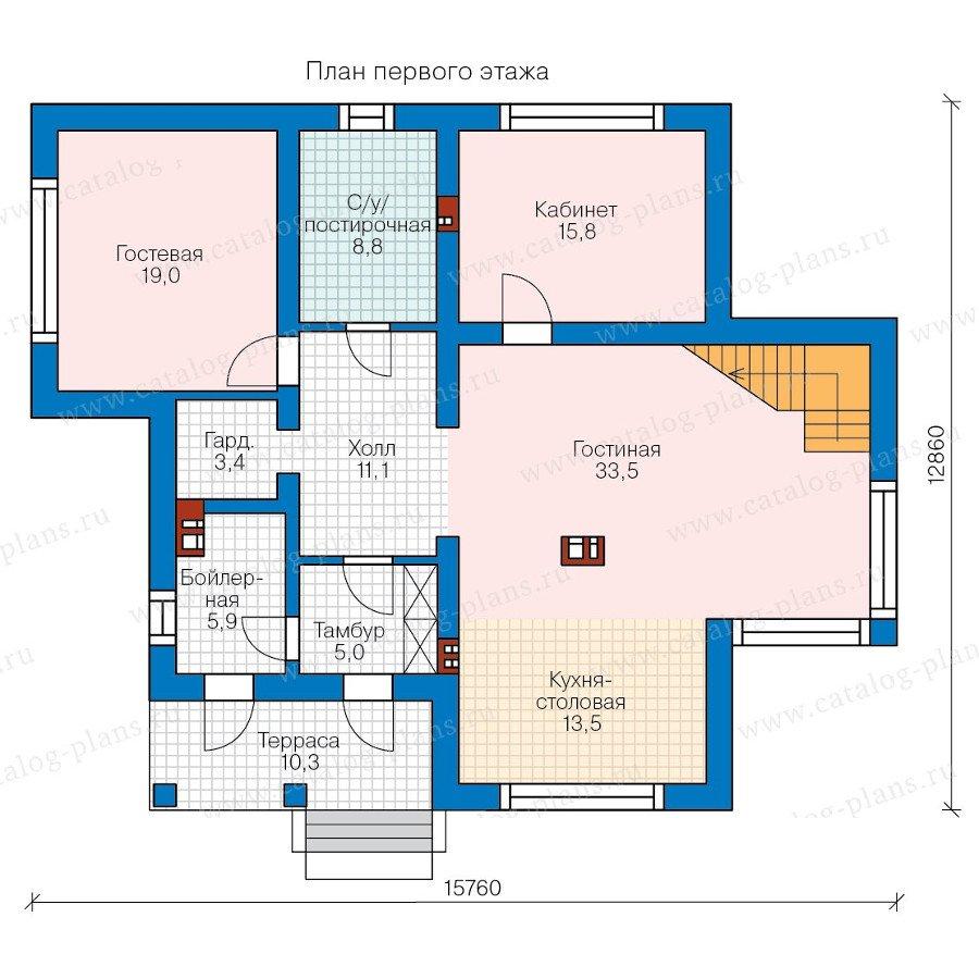 План 1-этажа проекта 58-36