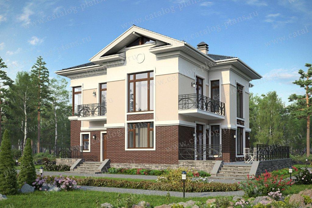 Проект жилой дом #57-49 материал - газобетон, стиль американский
