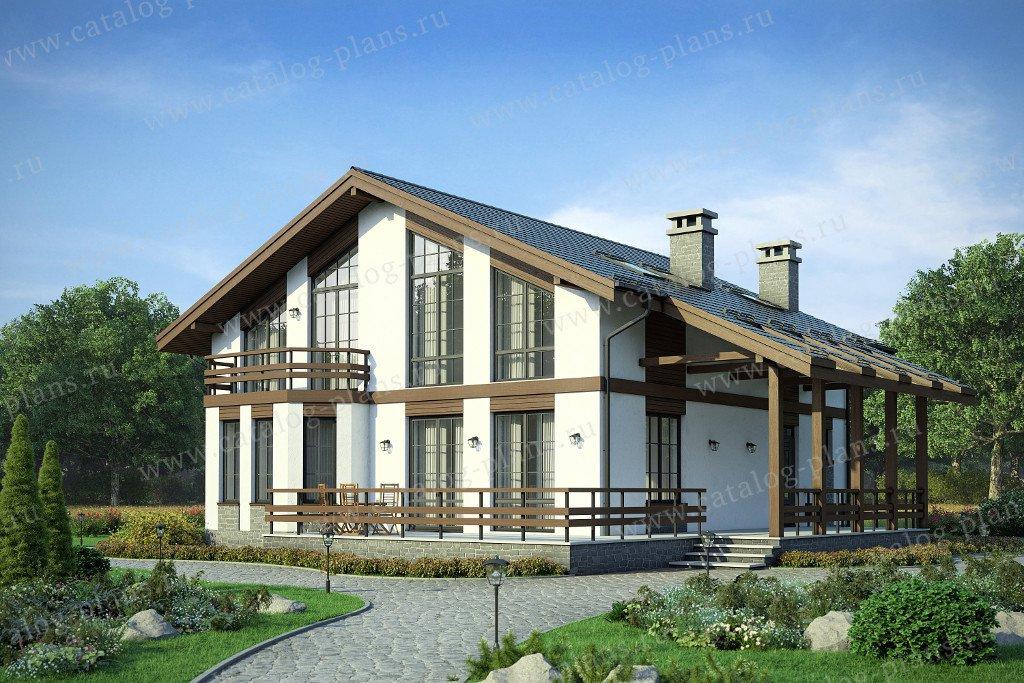 Проект жилой дом #58-23K материал - кирпич, стиль  скандинавский