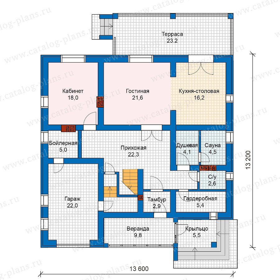 План 1-этажа проекта 57-48