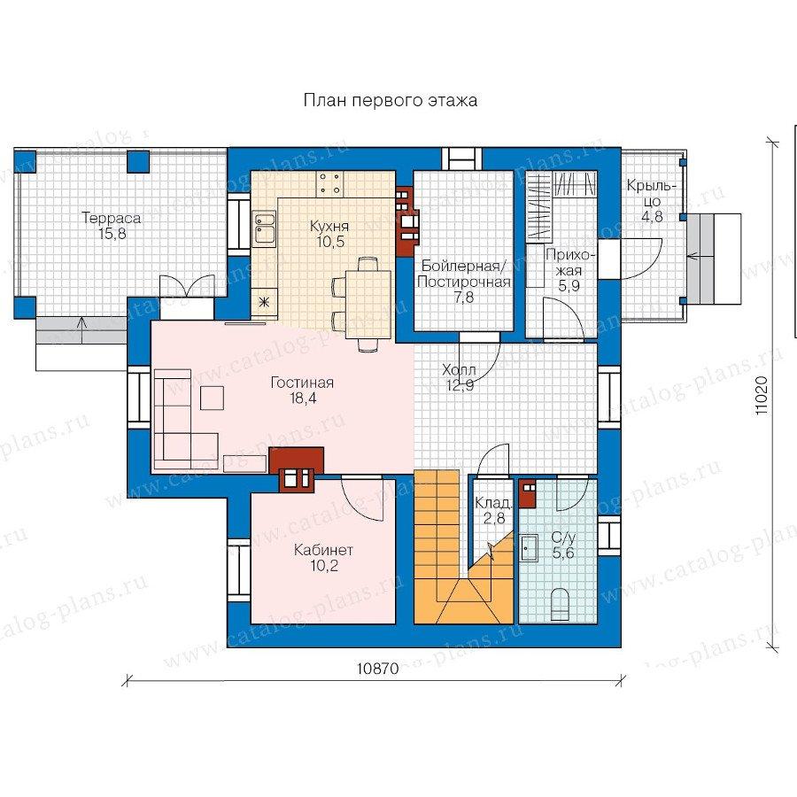 План 1-этажа проекта 58-34K