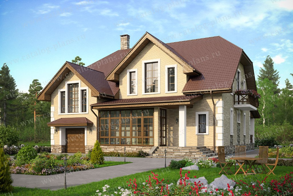 Проект жилой дом #57-48 материал - газобетон, стиль европейский