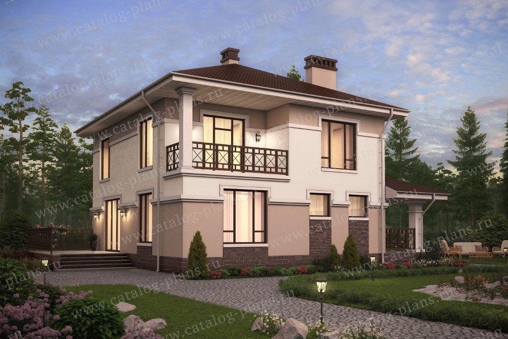 Проект жилой дом #57-50K материал - кирпич, стиль европейский