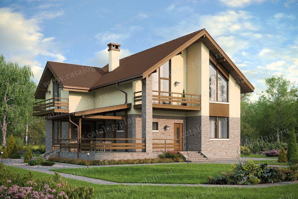 Проект жилой дом #57-55 материал - газобетон, стиль европейский