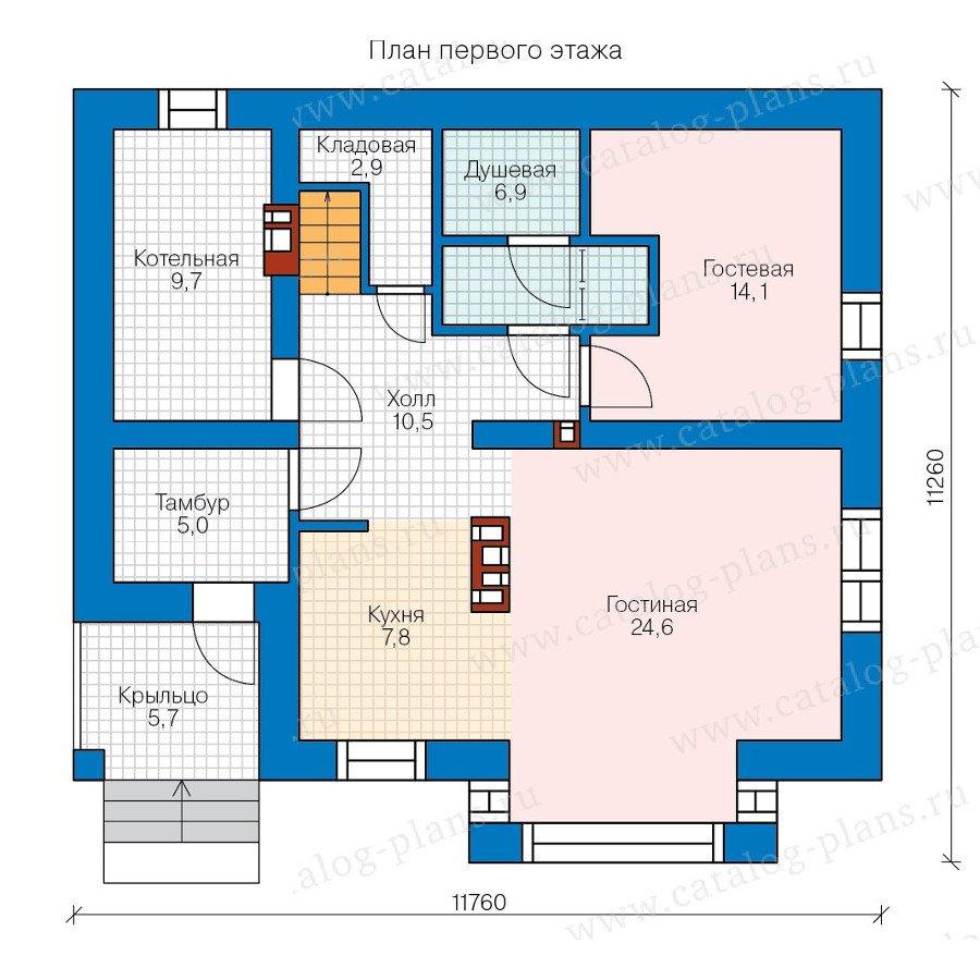 План 1-этажа проекта 57-67K