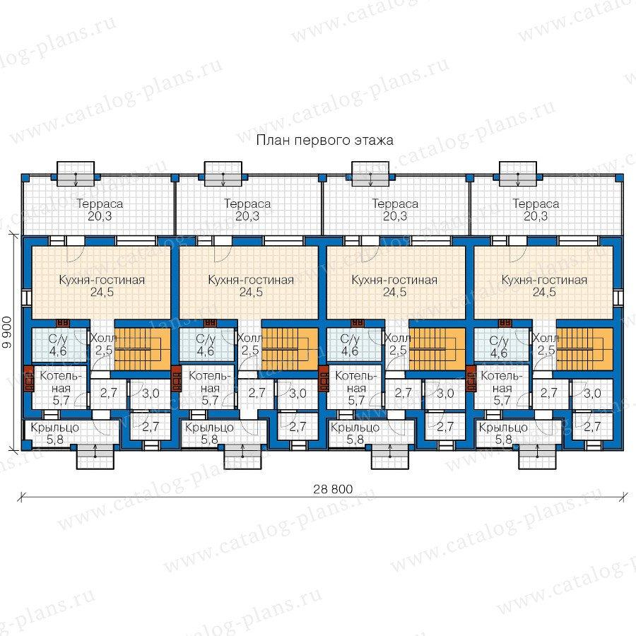 План 1-этажа проекта 57-57