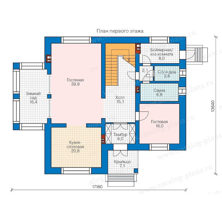 План 1-этажа проекта 40-40GL