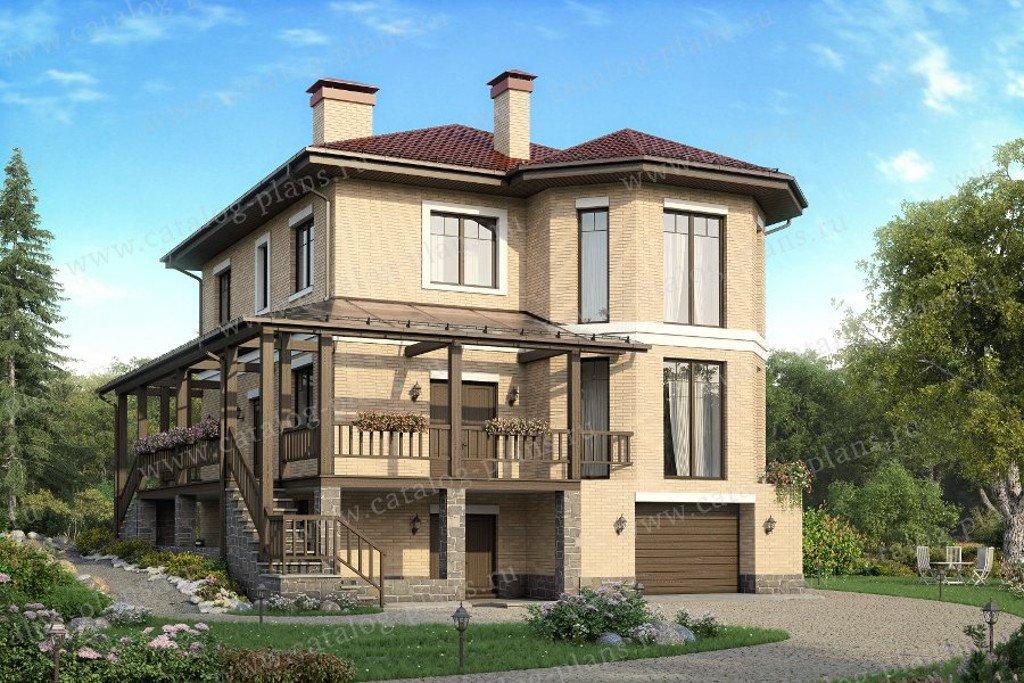 Проект жилой дом #57-72K материал - кирпич, стиль европейский