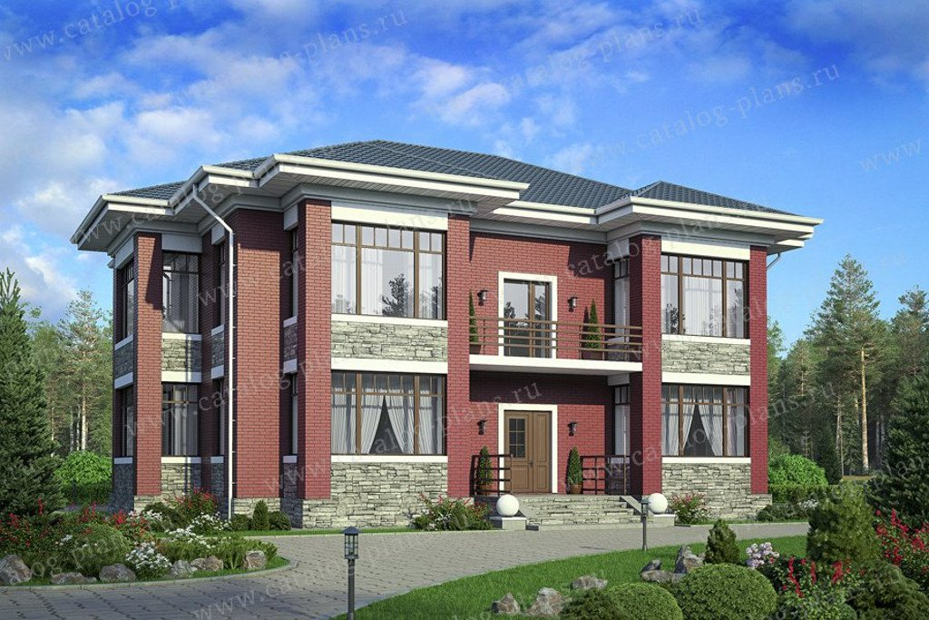 Проект жилой дом #40-34G материал - газобетон, стиль в стиле Райта