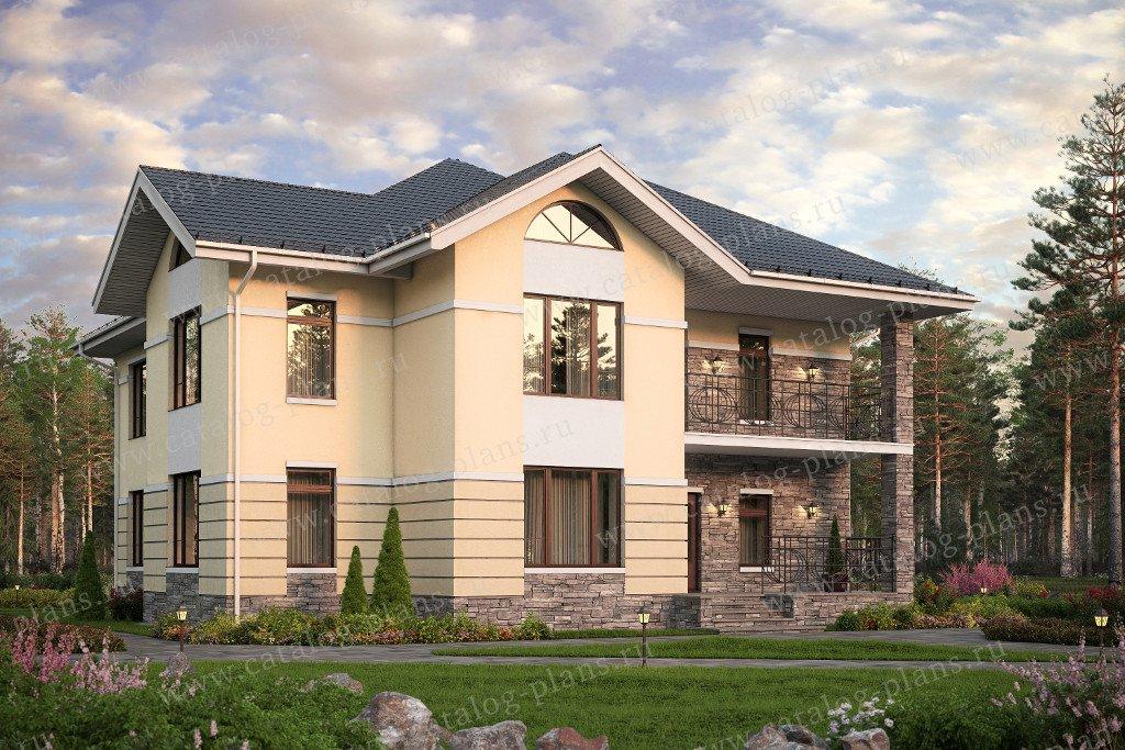 Проект жилой дом #57-56K материал - кирпич, стиль европейский