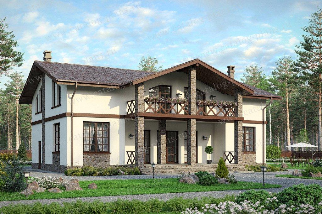Проект жилой дом #57-80 материал - газобетон, стиль европейский